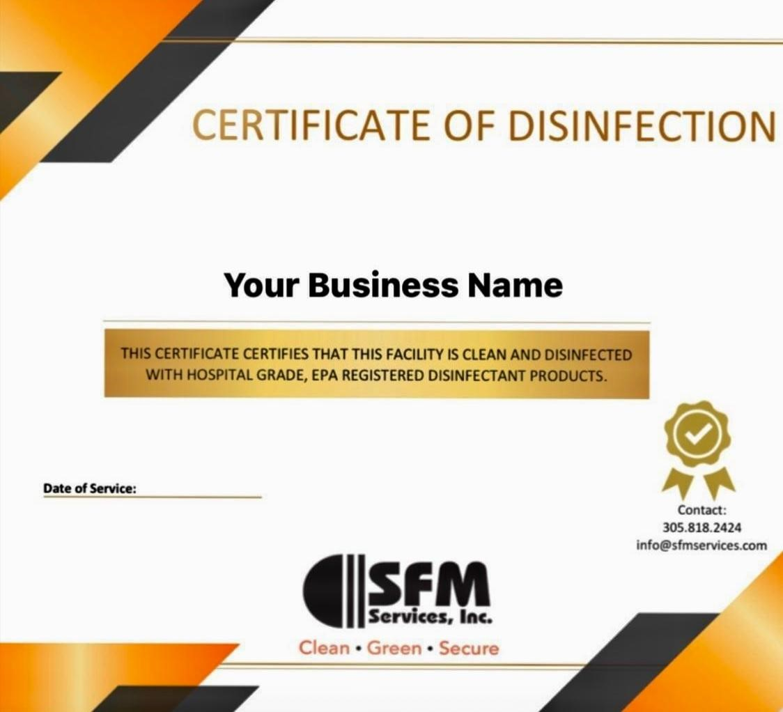 SFM Certificate of Disinfection