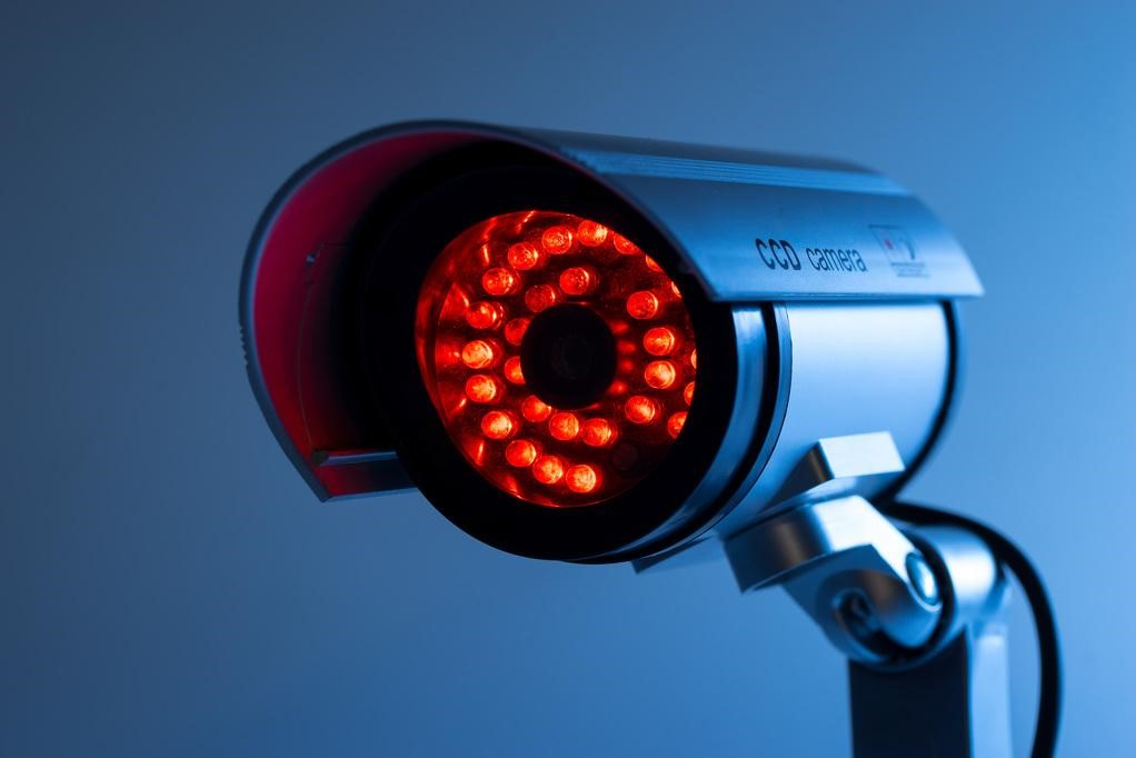 Infrared security camera close up