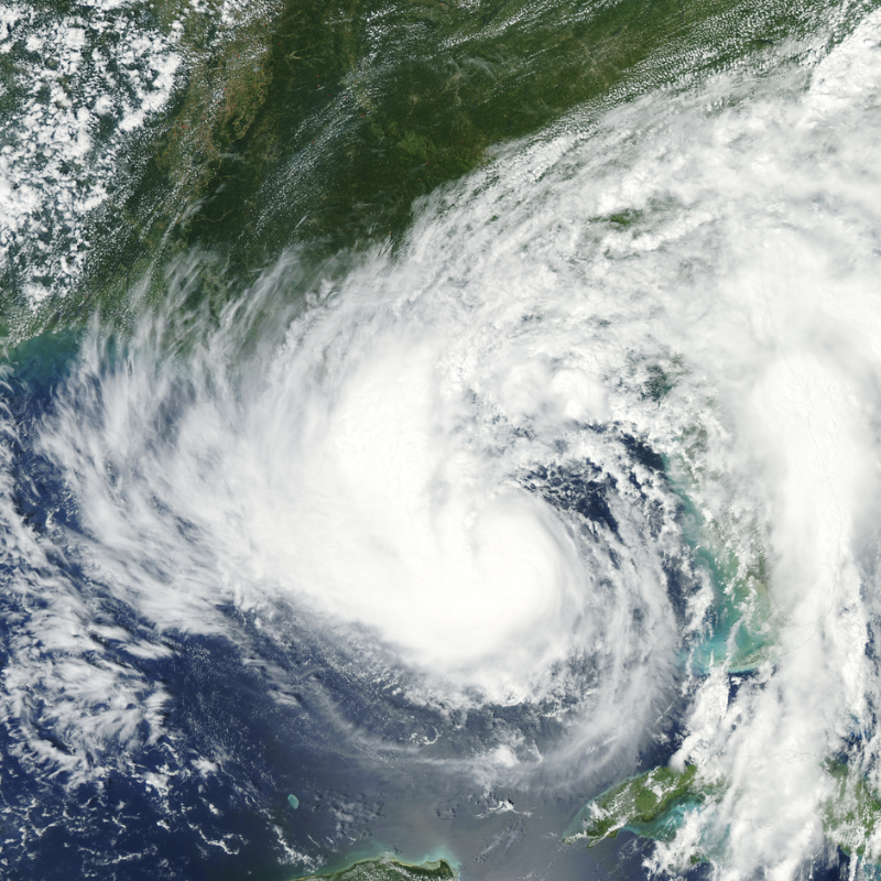 Satelite view of a hurricane over Florida.