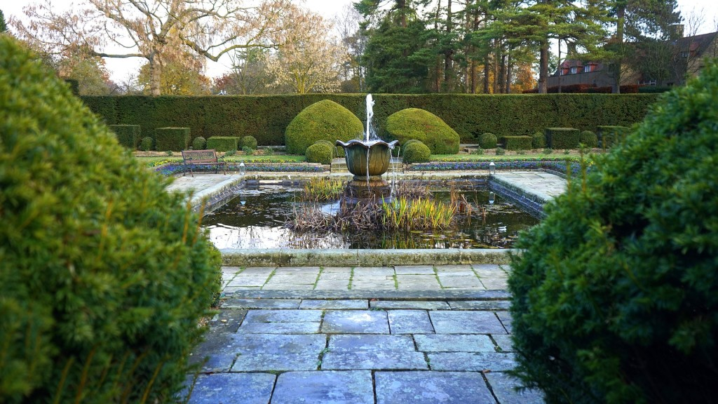 Images shows a water garden with a foundation it the center with green lush plants and limestone bricks.