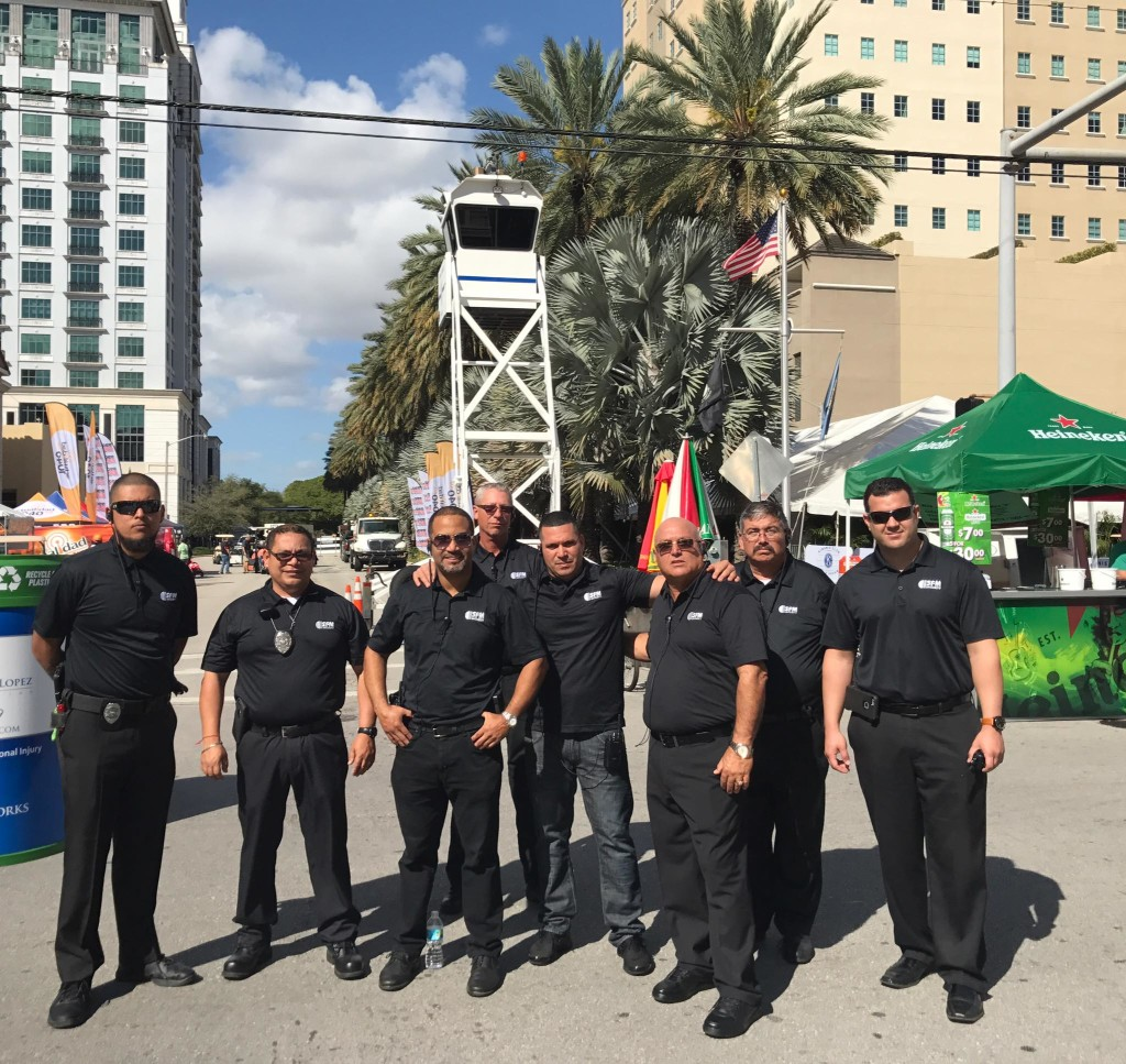 Group of male security officers on a street in Miami